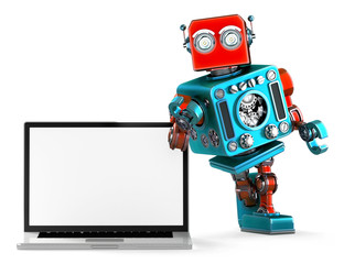 Retro Robot with blank screen laptop. 3d illustration. Isolated.
