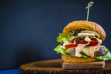 Hamburger, homemade hamburger with beef and fresh vegetables