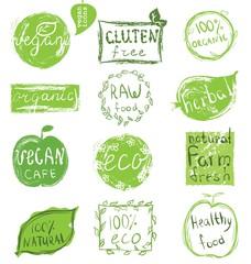 Set of badges, emblems, healthy organic food labels for vegetarian restaurant, vegan cafe menu