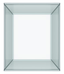 Empty glass cube, isolated
