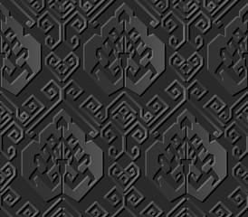 Seamless 3D dark paper cut art background 420 oriental spiral geometry line