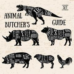 Butchery shop animal set.