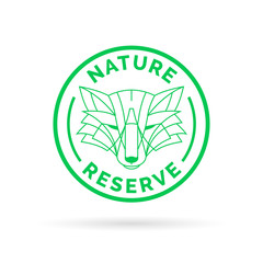 Wildlife park nature reserve icon emblem with wild fox symbol stamp. Vector illustration.