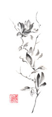 Magnolia scroll Japanese style original sumi-e ink painting.