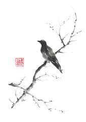 Lonely bird Japanese style original sumi-e ink painting.