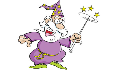 Cartoon illustration of a wizard with a magic wand.