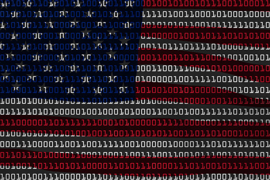American Technology Concept - Flag of USA in Binary Code - 3D Illustration