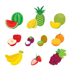 Fruits Icons Set, Tropical Fruits, Healthy Eating, Food, Juice