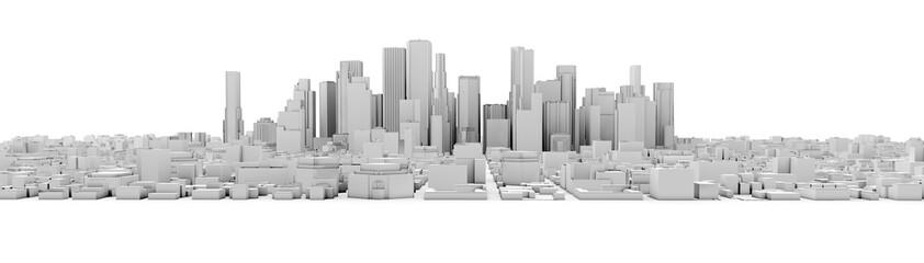 3d white city