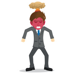Angry Businessman With Red Face And Explosion On The Head