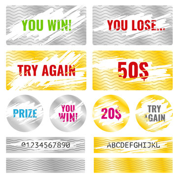 Scratch card game, scratch and win lottery vector elements. Lottery luck or lose, coupon chance win and card template lottery illustration