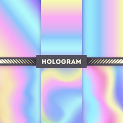 Colored hologram vector backgrounds for sticker. Hologram pattern color tone and bright rainbow shiny hologram illustration