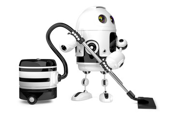 Cute Robot with vacuum cleaner. Isolated. 3D illustration. Conta