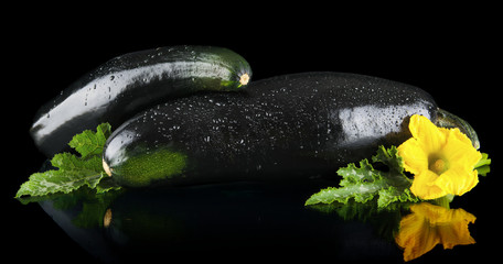 Closeup shot dewed courgettes with flowers on black background
