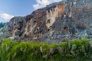 Pre-Inca necropolis with funerary niches called Ventanillas de Otuzco in northern Peru