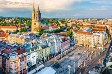 Zagreb aerial view Croatia capital. / Aerial view at old city center of capital of Croatia, Zagreb, Europe.