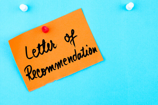 Letter Of Recommendation written on orange paper note