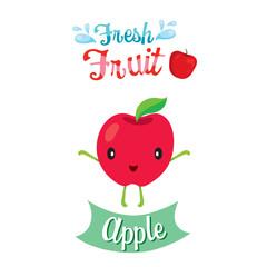 Cute Cartoon Of Apple Fruit, Banner, Logo, Tropical Fruits, Characters Design, Summer, Healthy Eating, Food, Juice