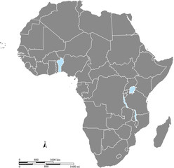 Africa map vector outline with scales of miles and kilometers in gray background
