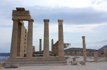 Doric temple of Athena Lindia. Acropolis of Lindos. Rhodes, Greece.