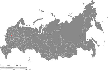 Russia map vector outline with scales of miles and kilometers in gray background