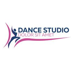 Dance logo, badge and emblem. Woman dancing. Dance studio logo design vector template