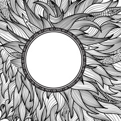 Abstract ornamental background with circle frame. Zentangle doodle hair patterned cover for card design