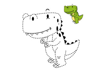 Illustration of educational game for kids and coloring book-dino