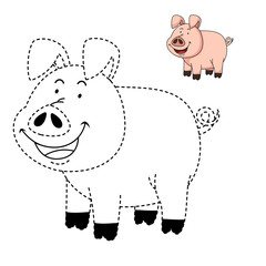 Illustration of educational game for kids and coloring book-pig