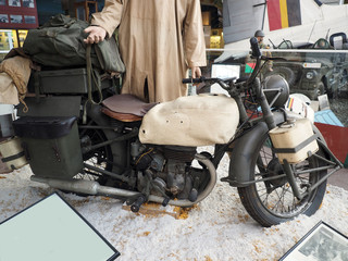 antique miitary motorcycle World War II in Royal Museum of the A