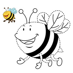 Illustration of educational game for kids and coloring book-bee