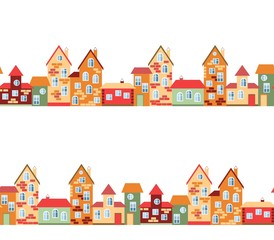 Small town panorama with cute houses. Seamless european village street. Vector illustration.