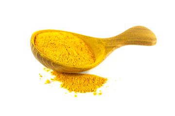 Yellow curry powder,turmeric powder in the wooden spoon, isolated on white background