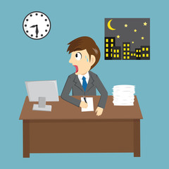 Funny Shock Businessman Working Late In Office