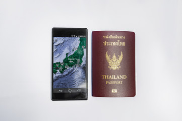 Smartphone &Passport travel to japan