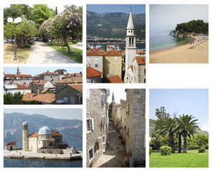 Collage from 7 photos Montenegro