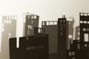 skyline in a little experessionist world,paper art diorama series, various composition and lighting