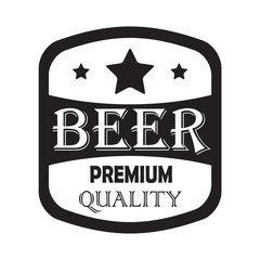 Beer label with premium quality sign. Vector illustration. Symbol or design elements for beer bottle, restaurant, beer pub or cafe.