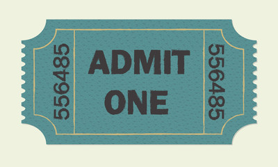 Ticket icon isolated on white background. Colorful vector illustration of cinema or theater retro ticket.