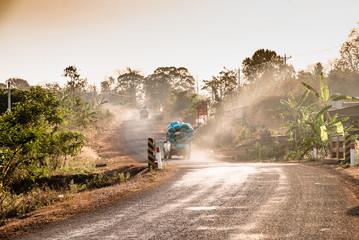 A dusty street in Cambodia
