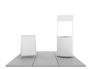 Blank trade show booth mock up. 3D rendering