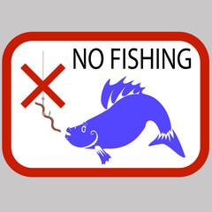 Fishing Prohibited Sign Isolated on Grey Background