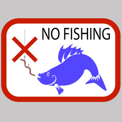 Vector Fishing Prohibited Sign Isolated on Grey Background