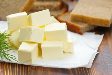 Butter and bread on the table