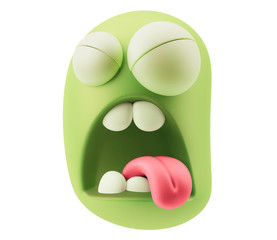 Disgust Emoticon Face. 3d Rendering.