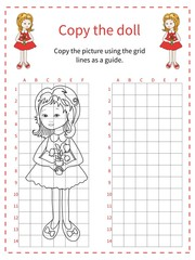 Grid copy puzzle - the picture of cute girl. Educational game for children. Vector illustration.
