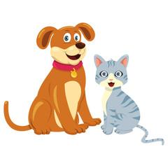 Dog Cat Sitting Together