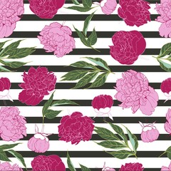 Vector seamless pattern of peony in trendyvibrant pink color isolated on black strips. Hand drawn floral and geomrtric. Wrapping paper, wallpaper, greeting card, invitations, wedding.