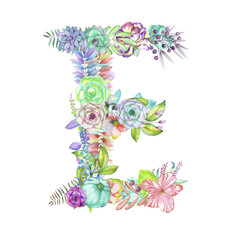 Capital letter E of watercolor flowers, isolated hand drawn on a white background, wedding design, english alphabet for the festive and wedding decor and cards
