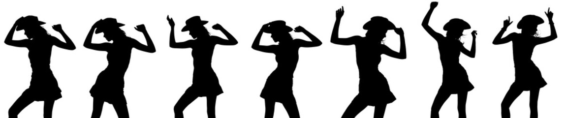 Several silhouettes of a cowgirl dancing and posing